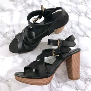 Madewell Black Leather Sandal Whistlestop Heel